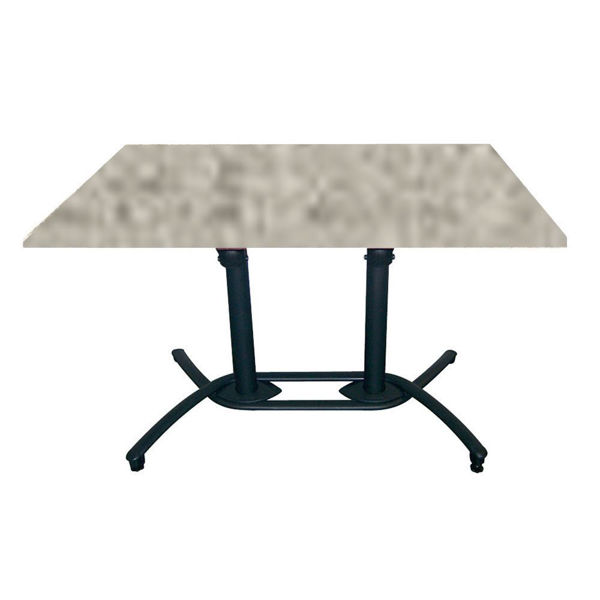Picture of Grosfillex 30' x 48' HPL Tabletop with Rails In Grey Linen Pack Of 1